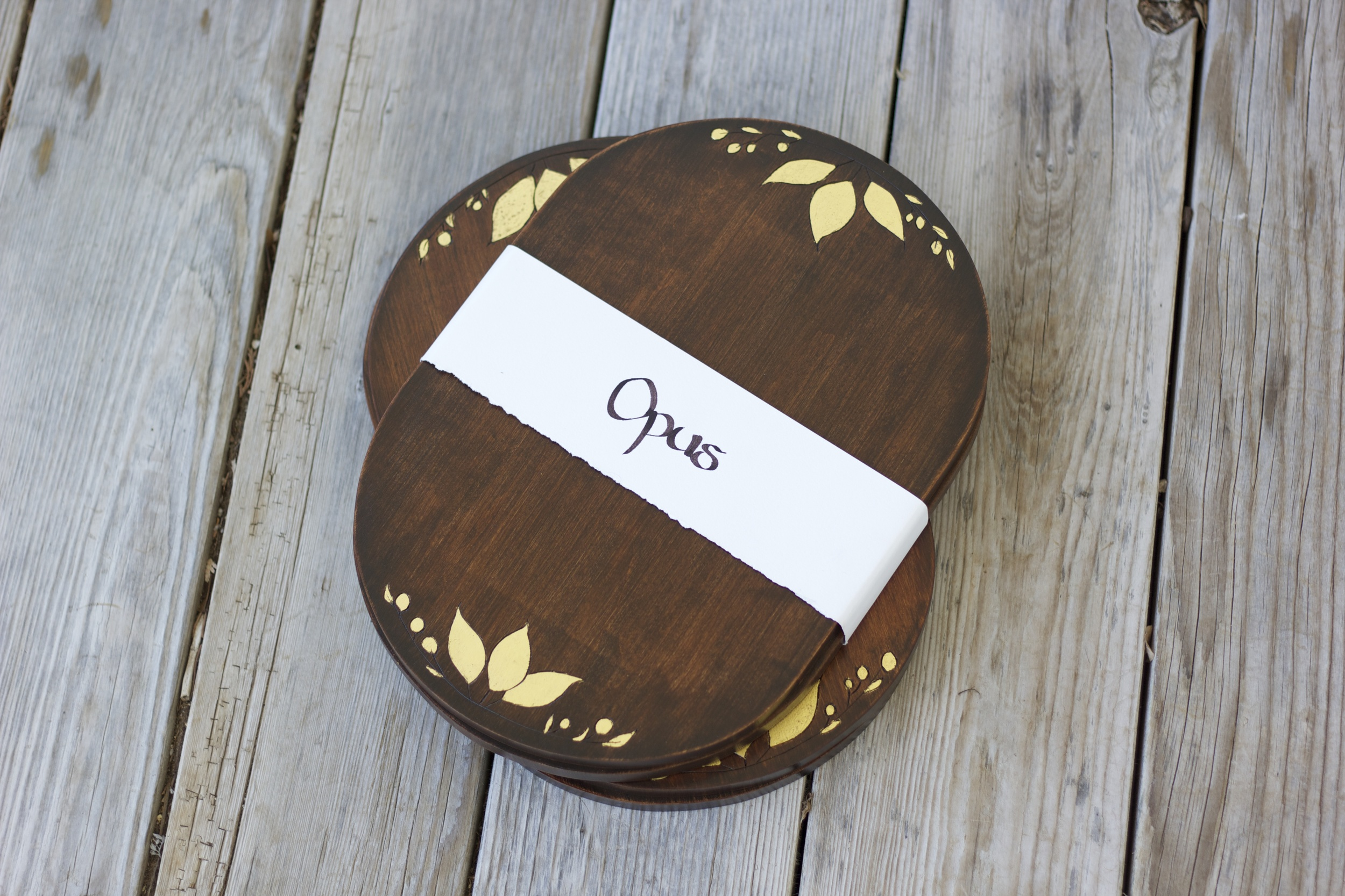 Kickstarter project. Wooden platters, ready for project backers. 2013.