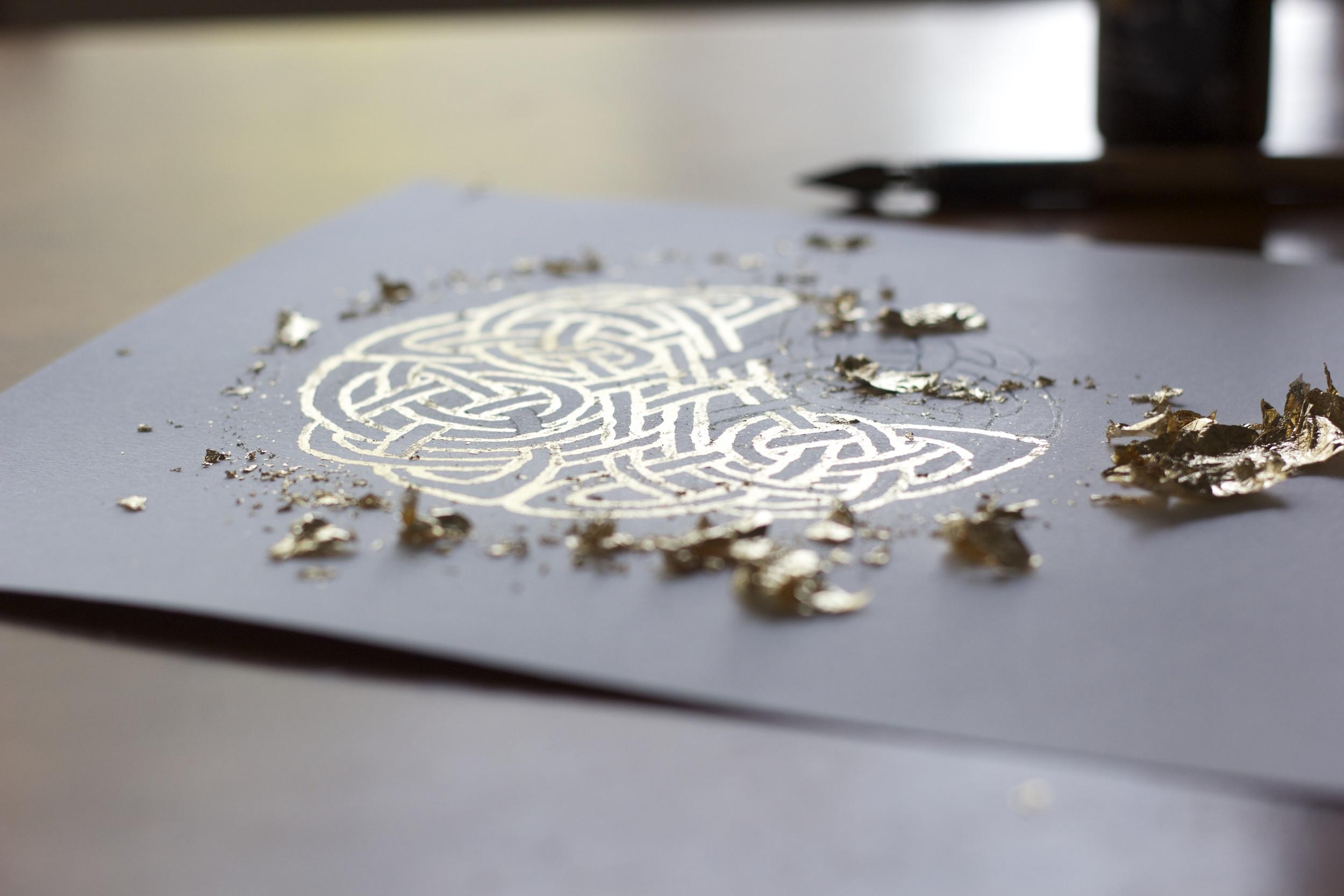 *Opus workshop. Gold-leafing demonstration for a high-school art workshop.2014.