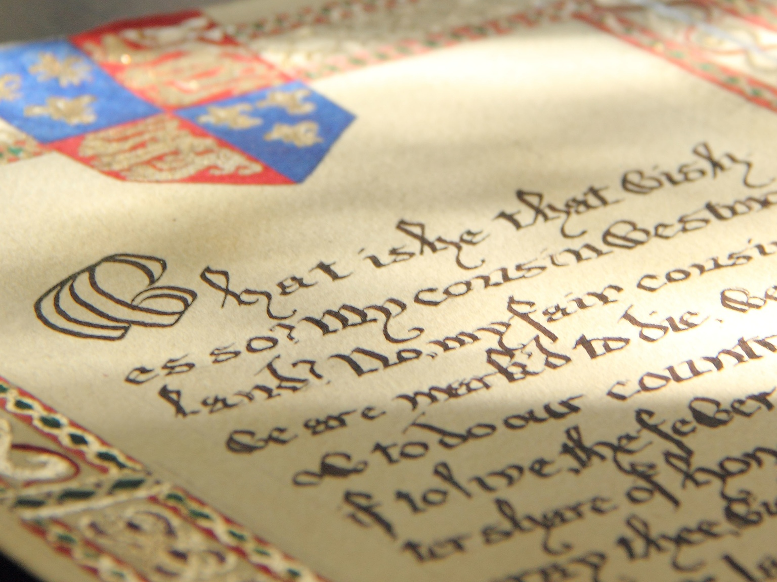Kickstarter project. Scroll of Shakespeare's  Saint Crispin's Day  speech. Watercolor paper, watercolor paint, gold and silver leaf, calligraphy. 2013.