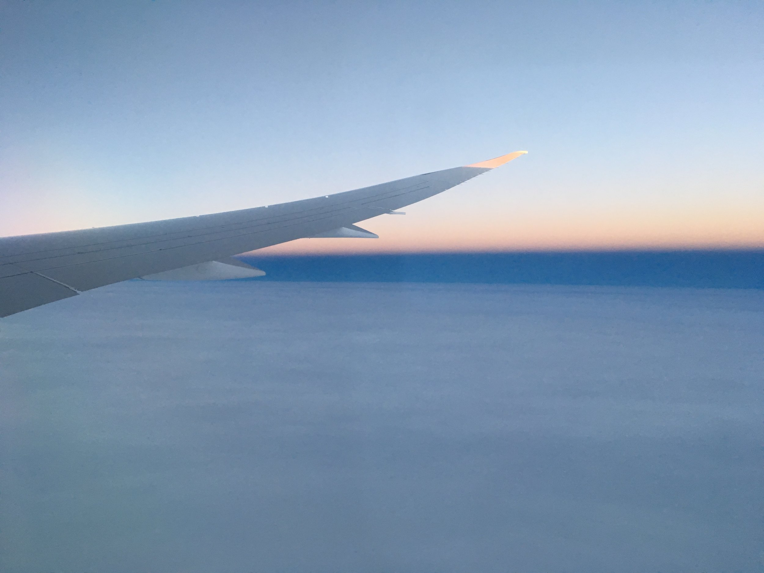 It was sunset for most of the flight back.