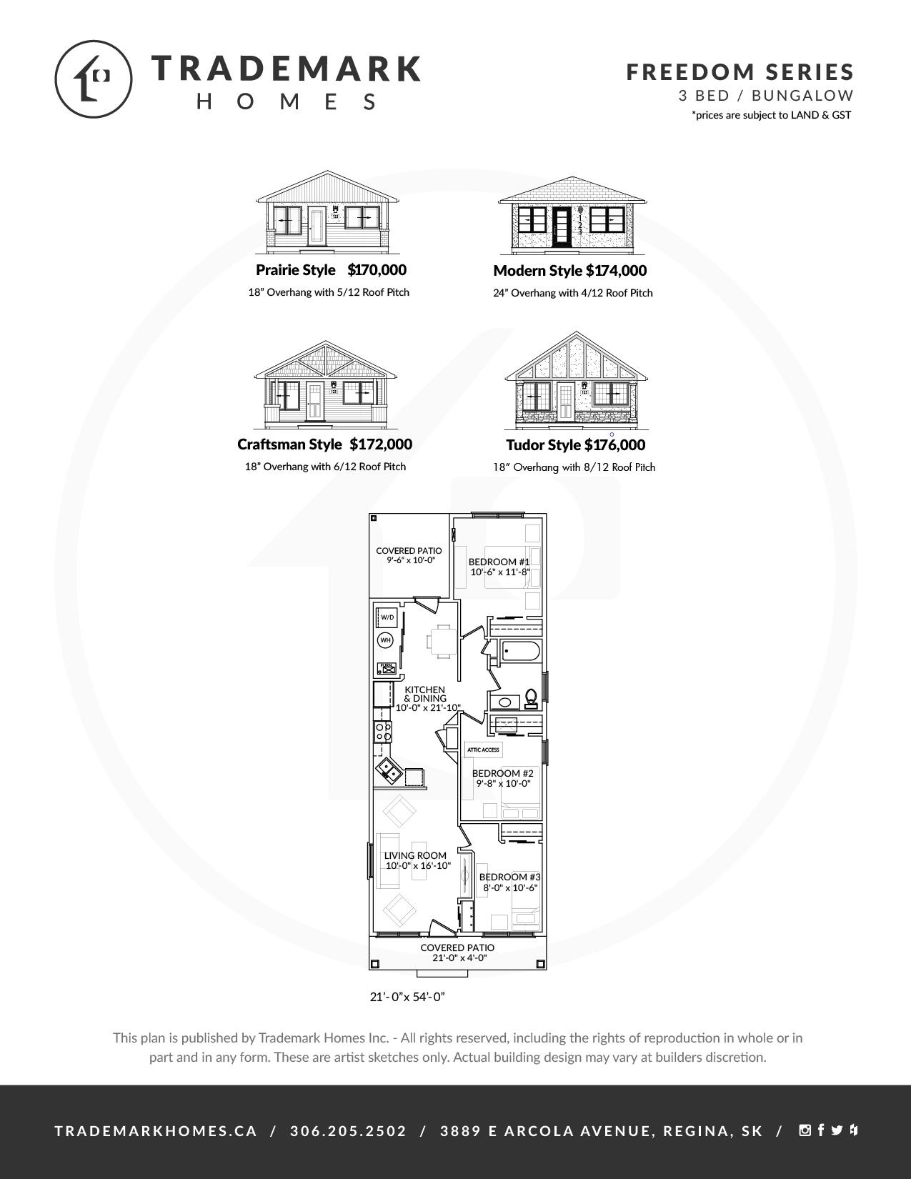 Freedom Series - 3 Bedroom Bungalow - Floorplan - Regina Home Builder - Harbour Landing