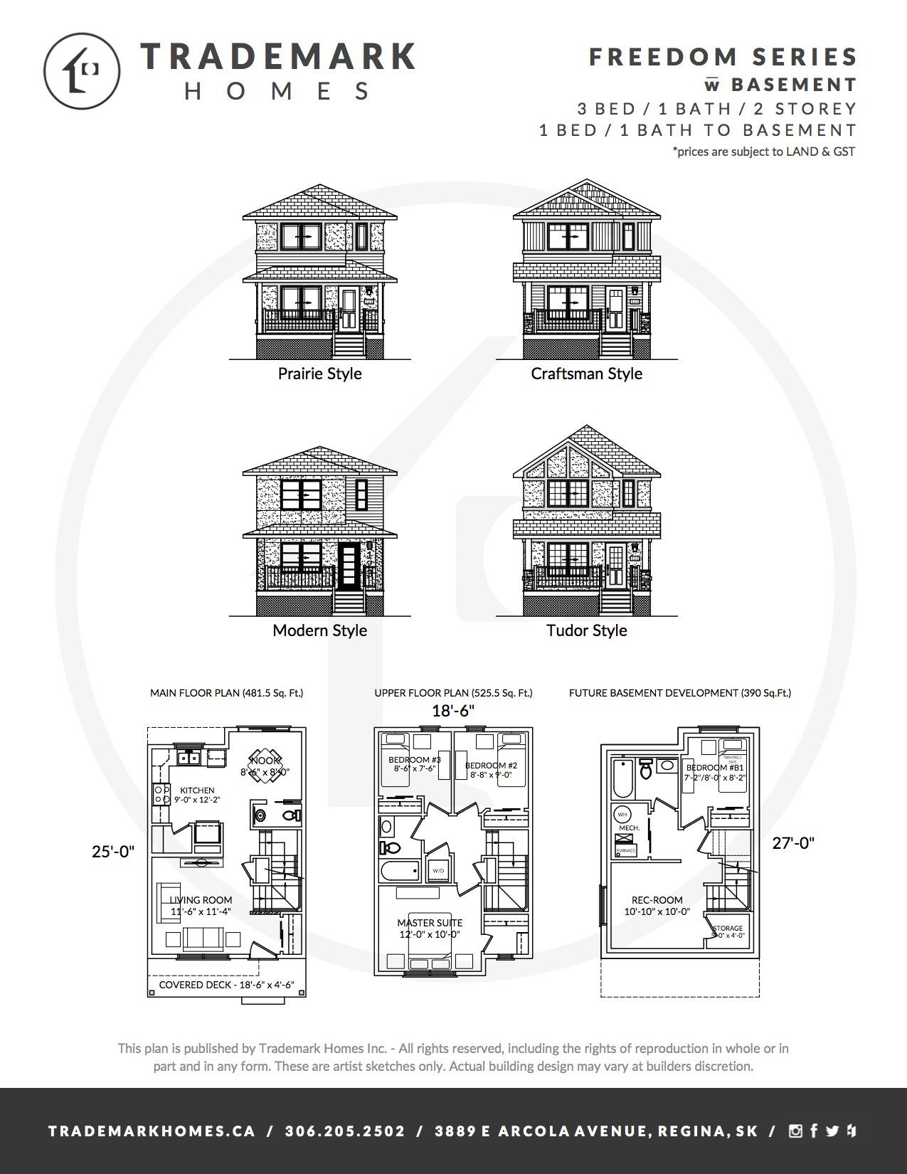 Freedom Series - 2 Storey - with basement - Floorplan - Regina Home Builder