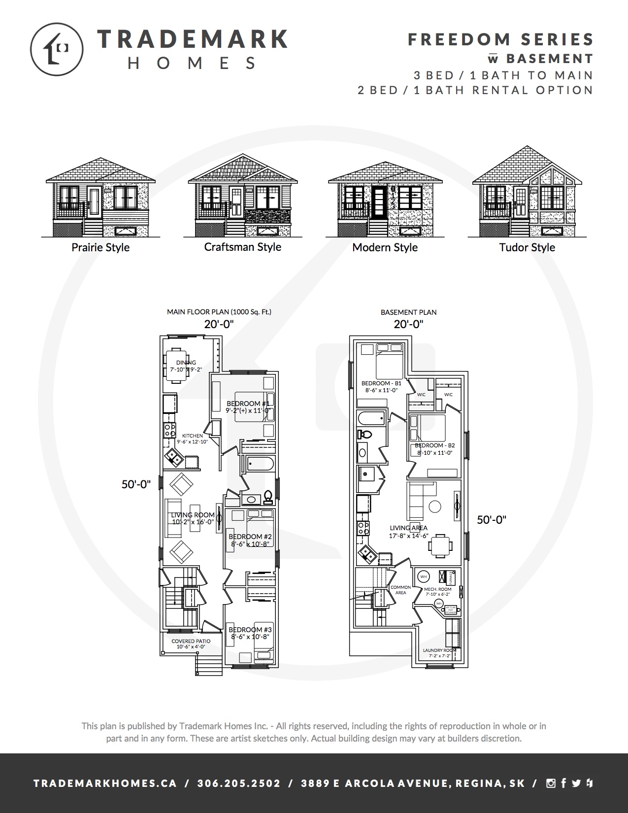 Freedom Series - With basement - Floorplan - Regina Home Builder