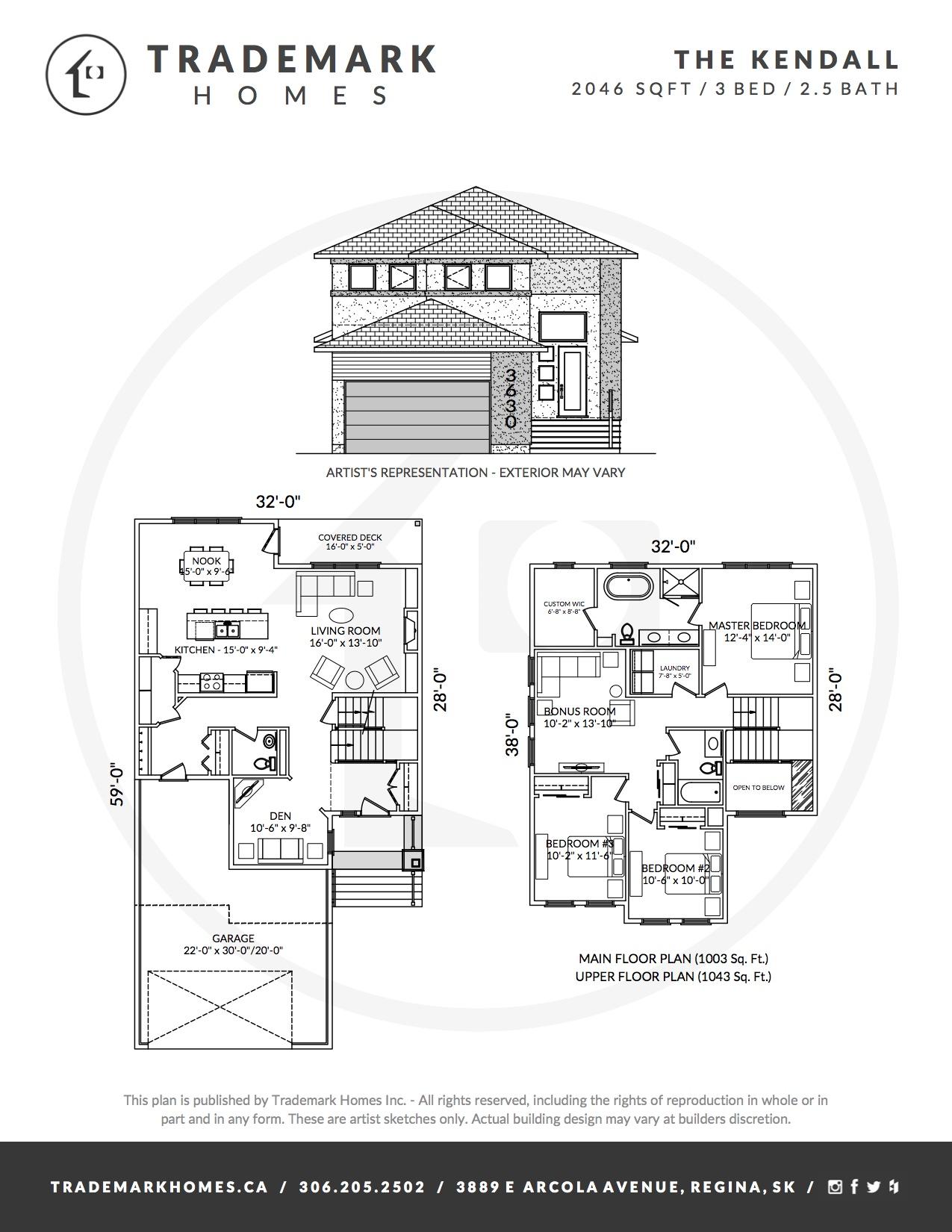 The Kendall - 2 Storey - Floorplan - Regina Home Builder