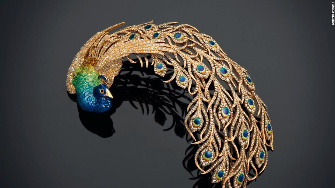 Antique Diamond and Enamel Peacock Aigrette, Mellerio Dits Meller