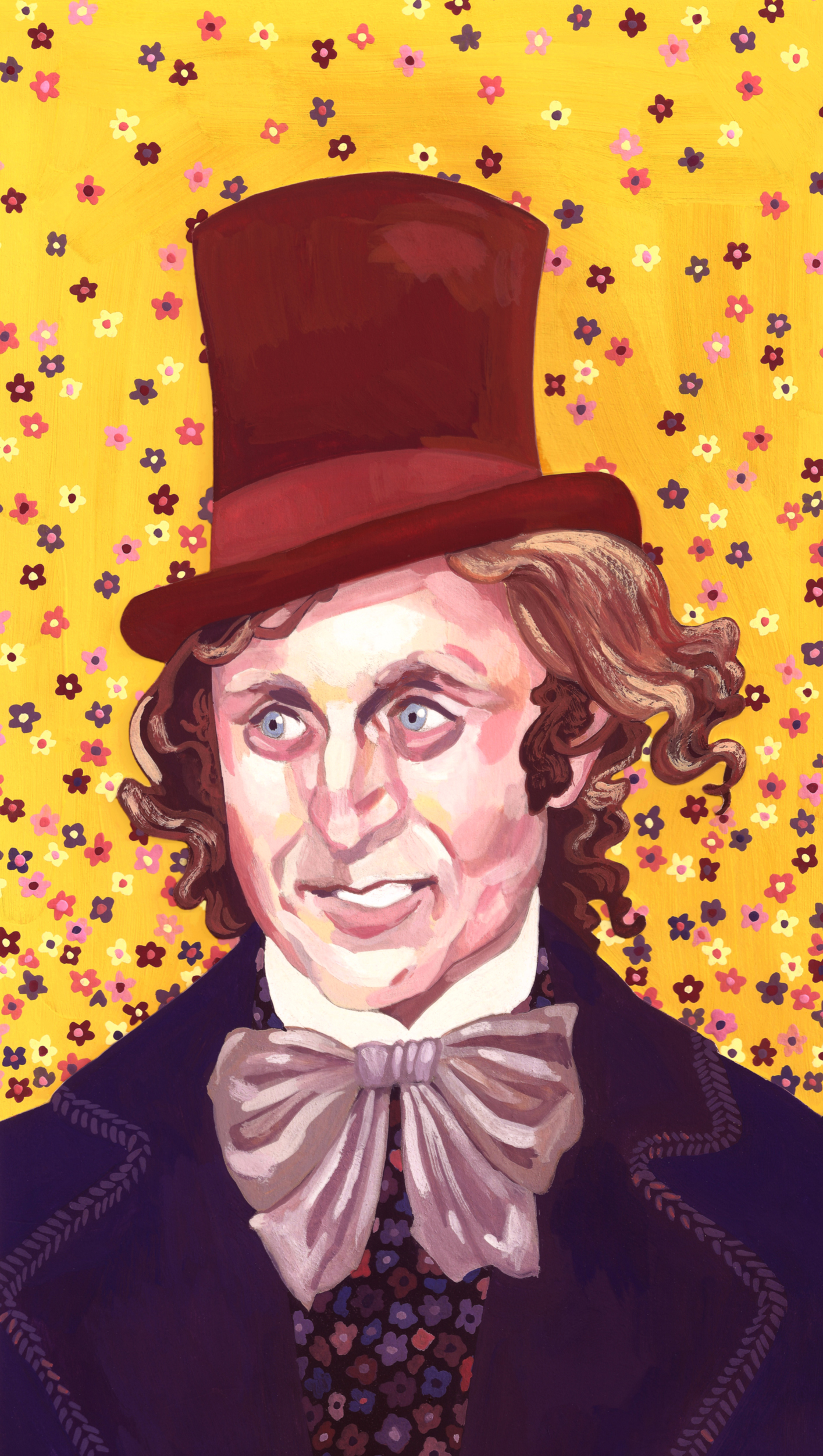 Gene Wilder as Willy Wonka  gouache, 2014/2018