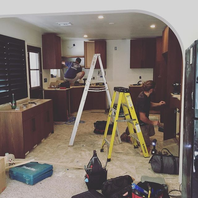 #greengoods guys hard at work! Love my cabinets!! @greengoods @greengoodsusa #interiordesign #design #custom #cabinets #kitchen #remodel #walnut