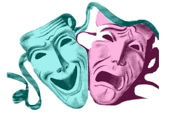 comedy-tragedy pink-teal