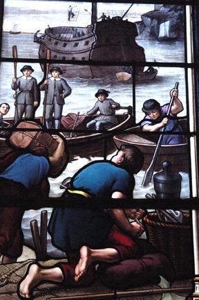 Détail des vitraux commemorant l'émigrat