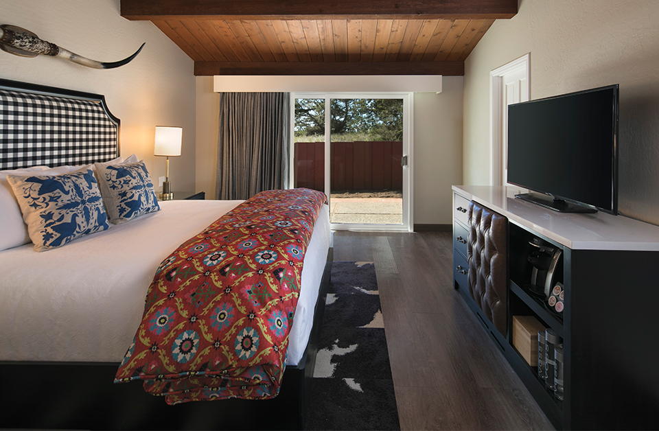 THE rodeo suite$2800 / 2 nights - Sleeps 2 adults + children1 Private King Bedroom & BathroomSeparate Living Area with Sofa SleeperWood Burning FireplaceFully Equipped KitchenBold Ranch Inspired DesignVaulted Wood CeilingPlush New Linens1 - 50