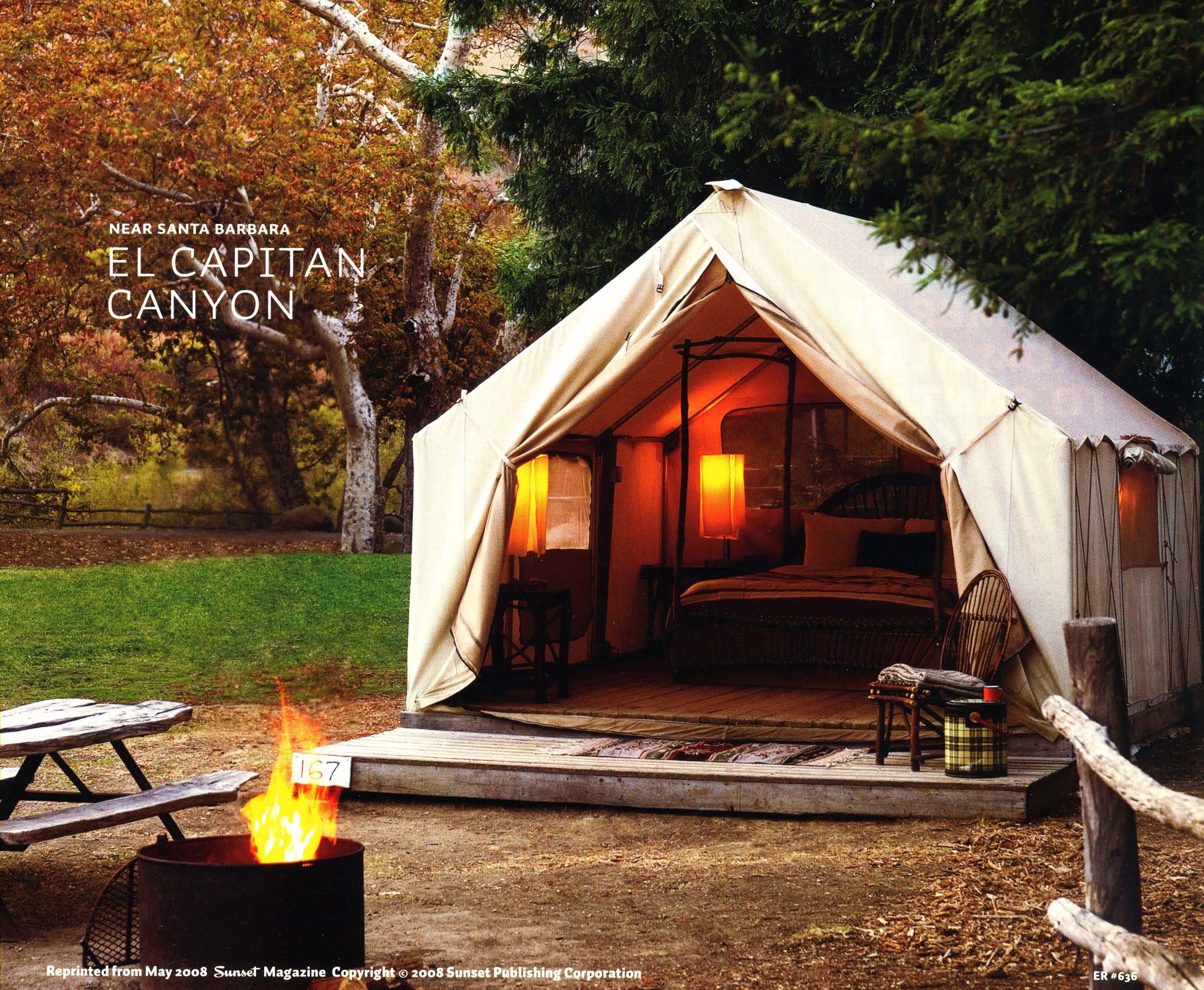 Safari Tents - Each canvas tent measures a spacious 12′ x 14′ and is built on a permanent raised wooden deck. All tents have two double beds, screened windows and zip-down flaps, are supplied with bed linens and towels, furnished with bedside tables, chairs, a small desk, storage trunk and coat hooks. Tents are also provided with a small heater and electric lamps for lighting.