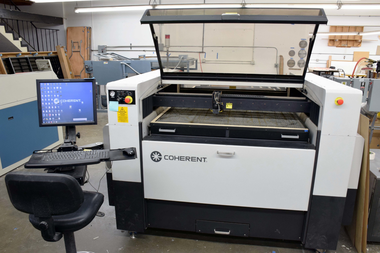 """The 250 watt laser, with a 48"""" x 96"""" bed size allows the mass production of parts, as well as larger parts at a high output rate. This enables fast turnaround times!"""
