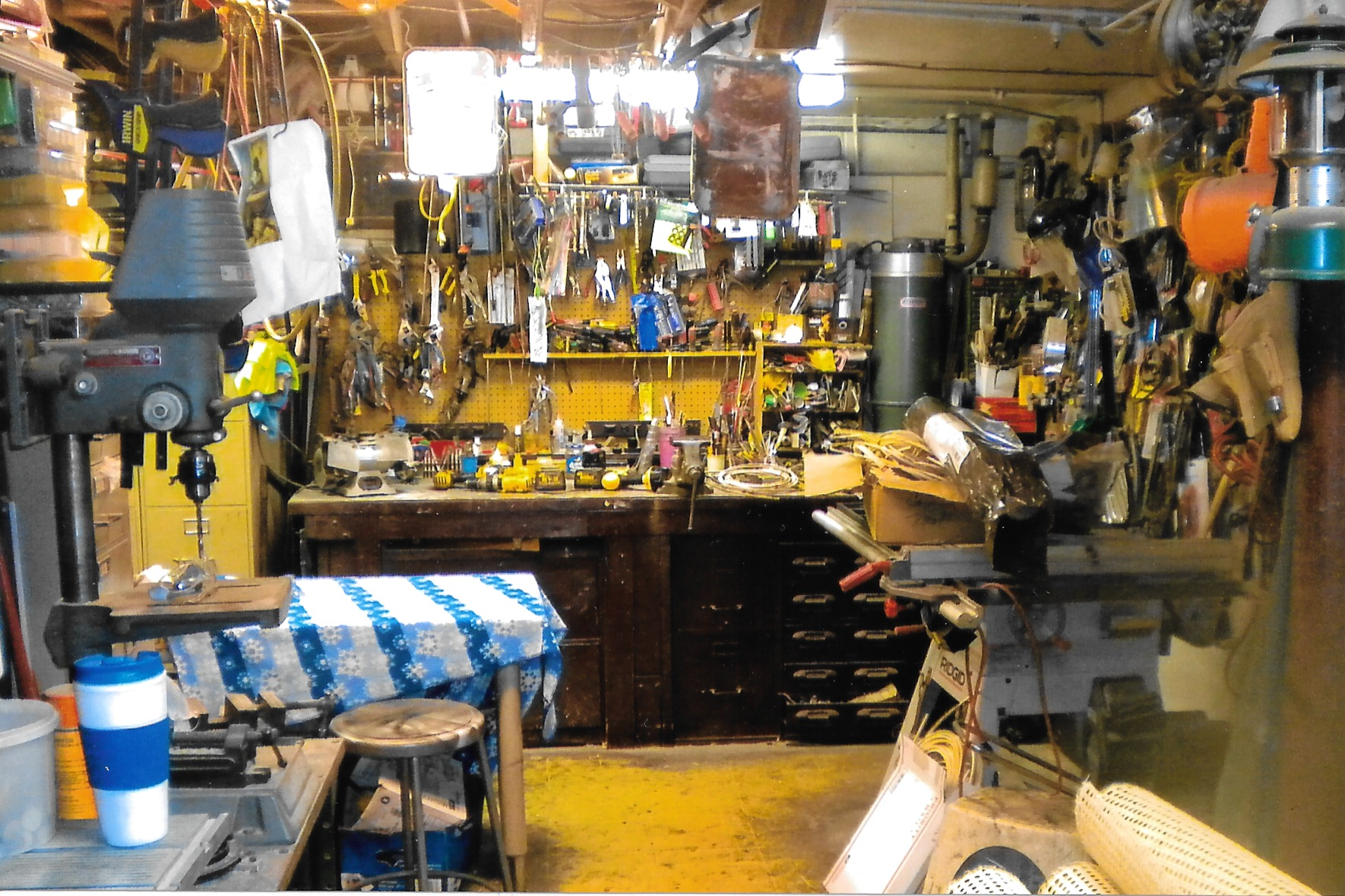 My workshop in Franklin Lakes, New Jersey. Over the last sixty years, I accumulated every tool of the trade (there are many that are not featured here). It may smell of sawdust and lacquer, but that's what gives it character, right?