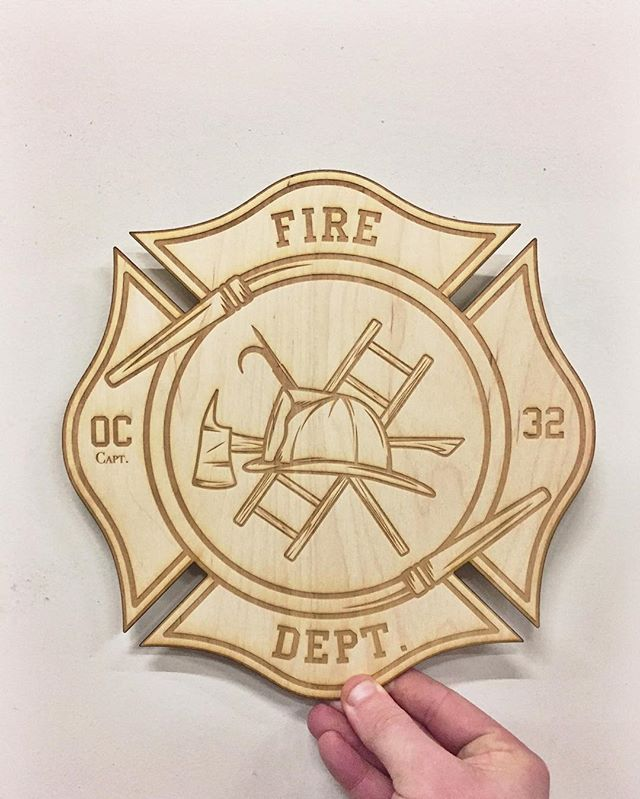 It's incredible to see the fun the laser can blaze up!! Call us for your personal projects that need a special touch! #brandlovepromotions #laserengrave #personalize #custom #wood #firedepartment