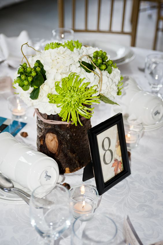 Floral and Wood Centrepiece