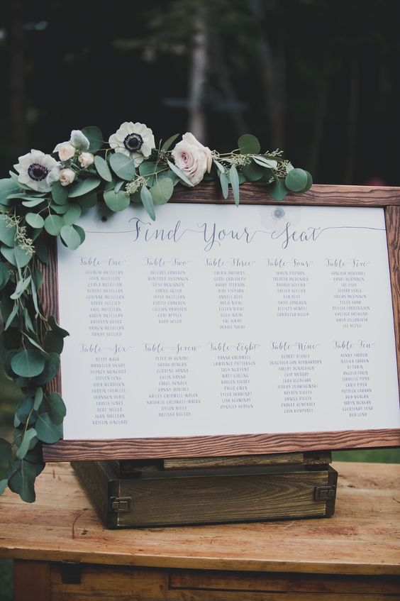 Seating chart by Tuktu Paper Co. (Image found on Pinterest)