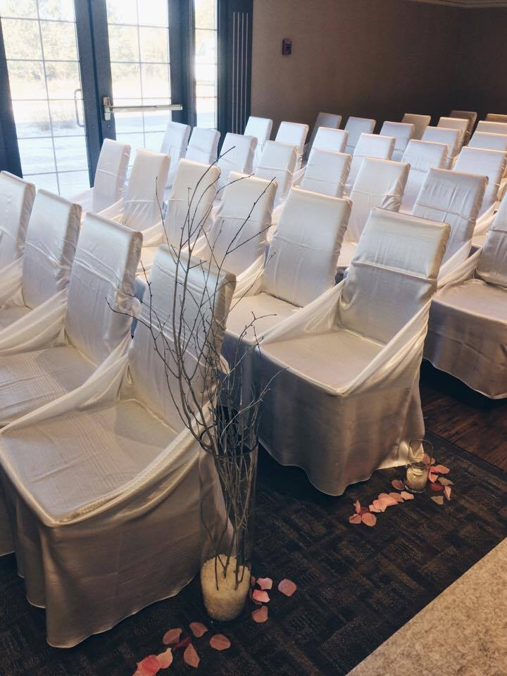 Chair Covers Front | Evelyn's Decorating