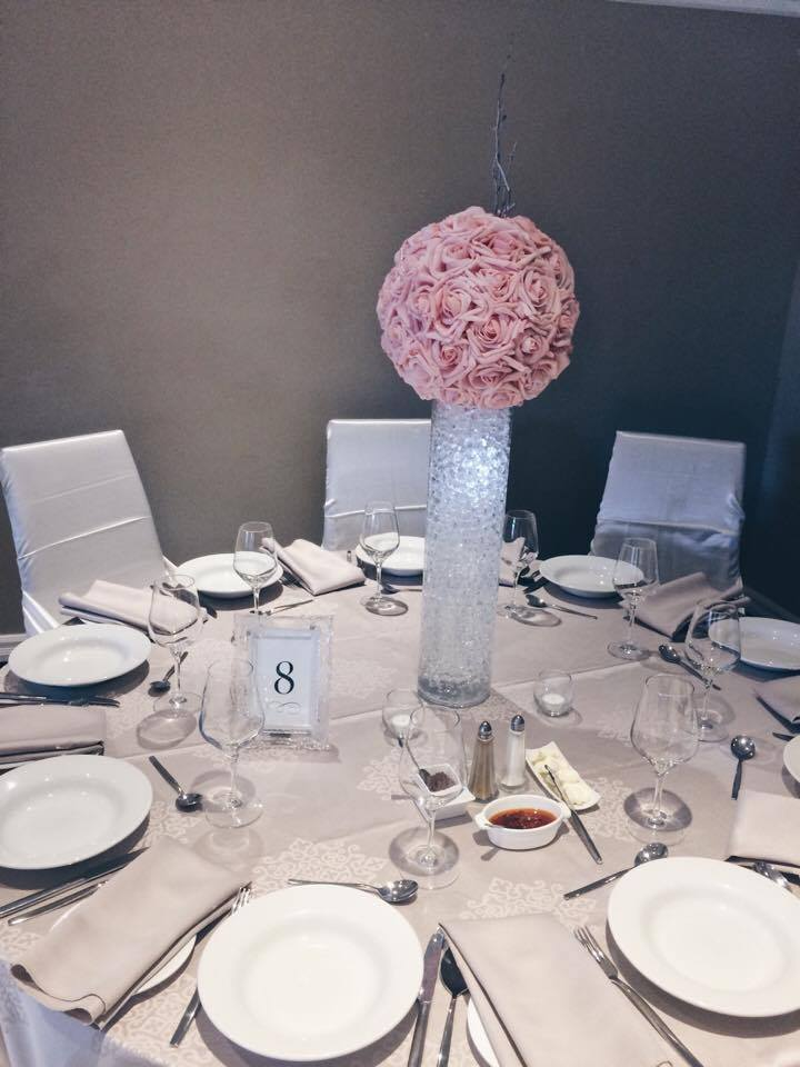 Glass Cylinders and Floral Ball | Evelyn's Decorating