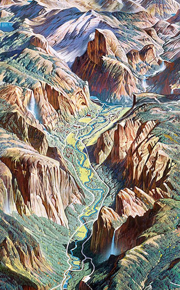 2. Yosemite Valley (detail) by H.C. Berann