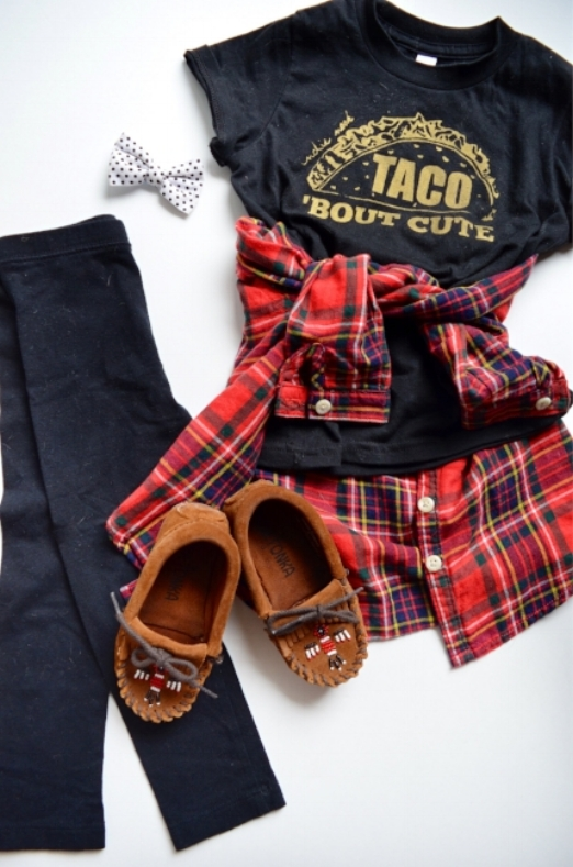 Leggings & flannel; oldnavy.com || moccasins; minnetonkamoccasin.com || t-shirt; indynook.com || bow; bloomieshandmade.com