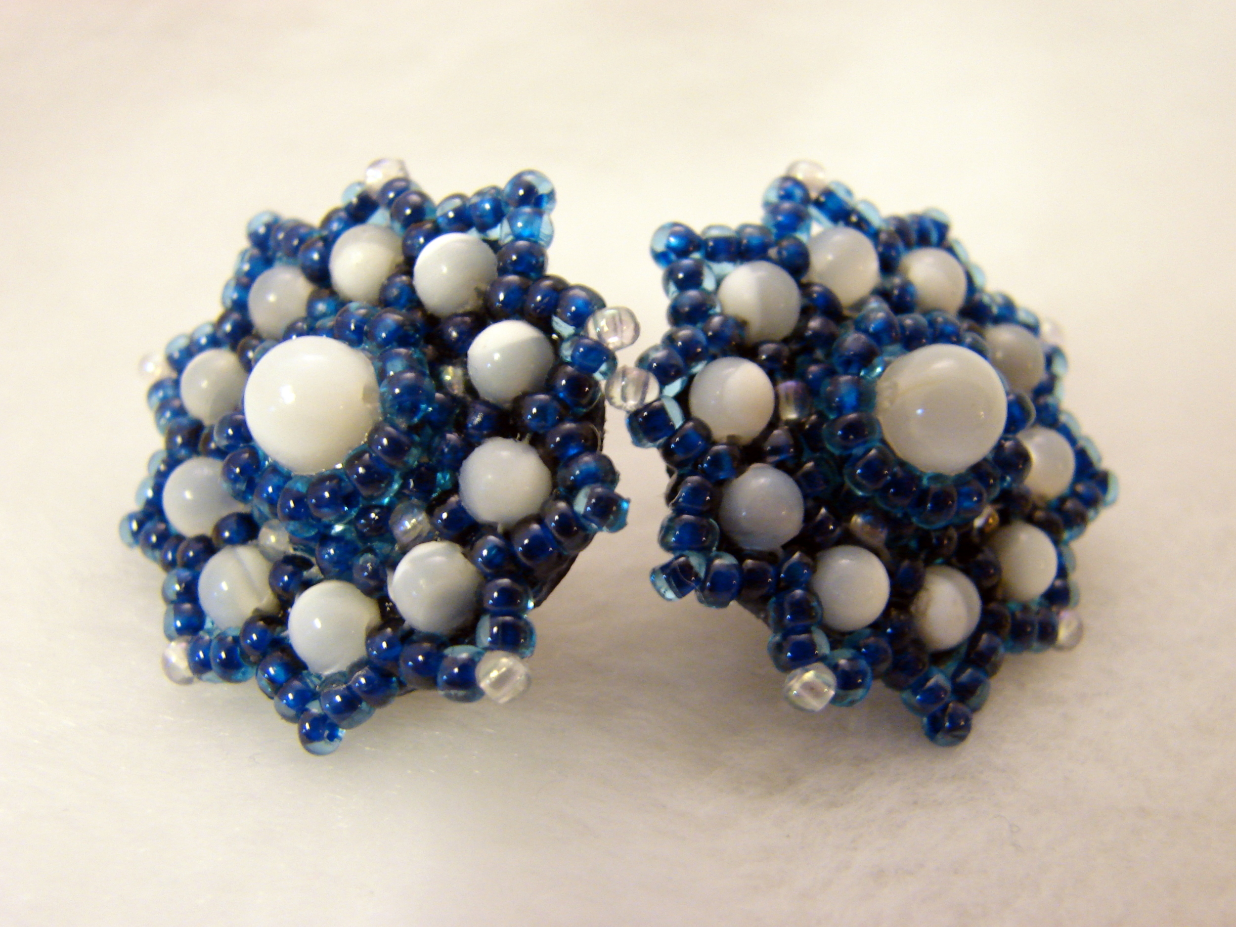 Blue Beaded Earrings with Mother of Pearl