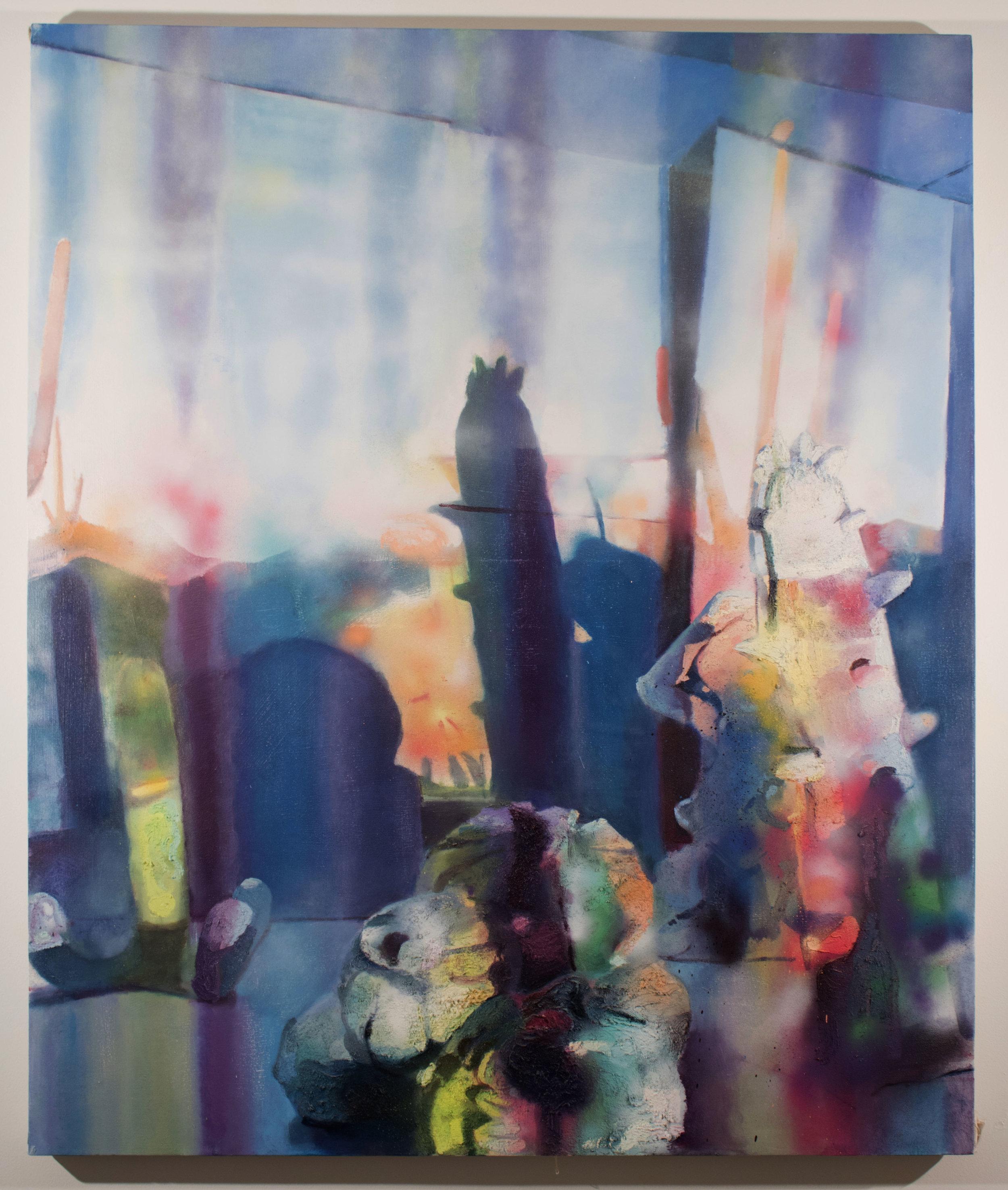 Vertigo,  2018, Oil and spray paint on canvas, 48 x 60 in