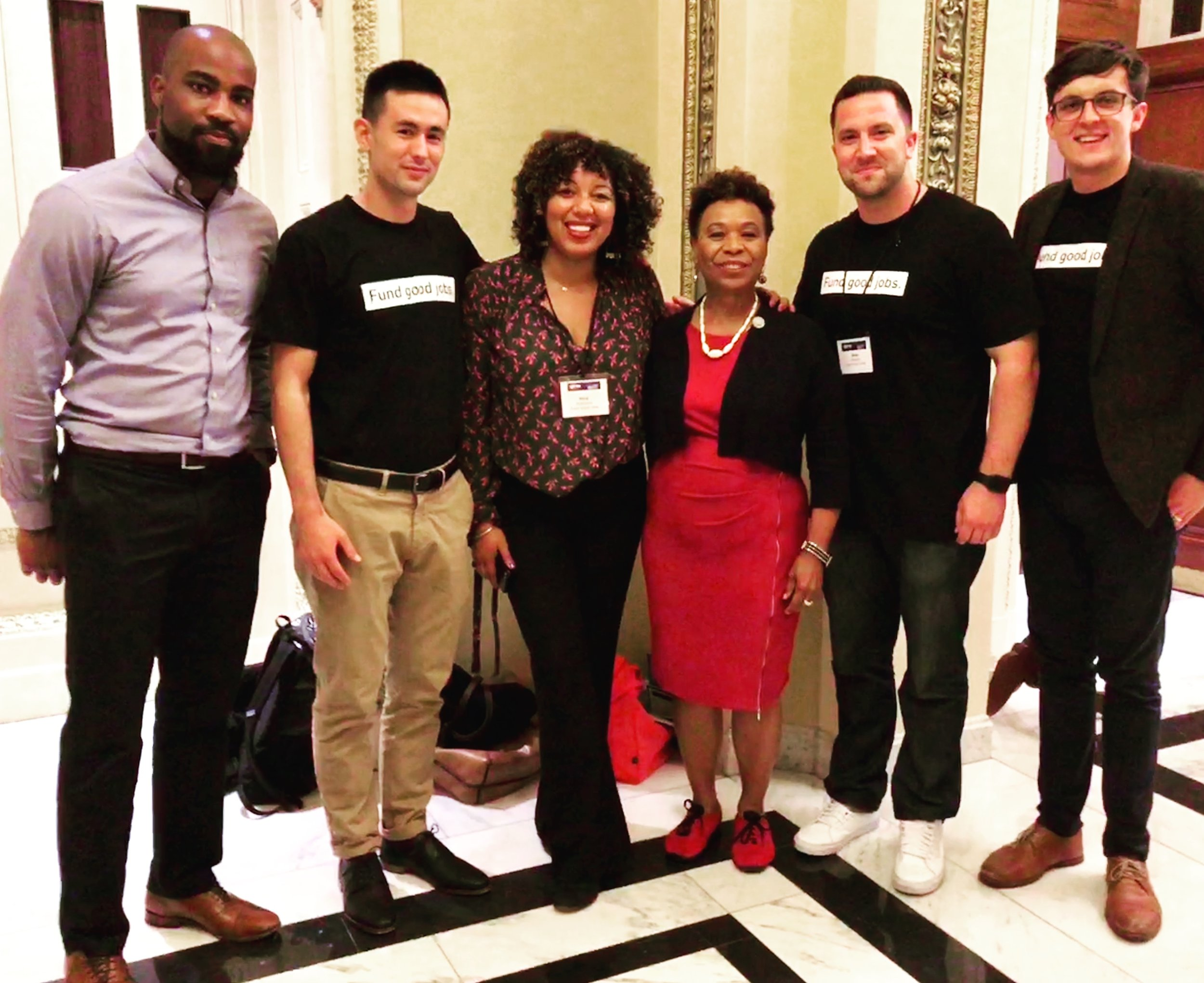 Members of the ICA Fund Good Jobs team with Congresswoman Barbara Lee in Washington, DC.