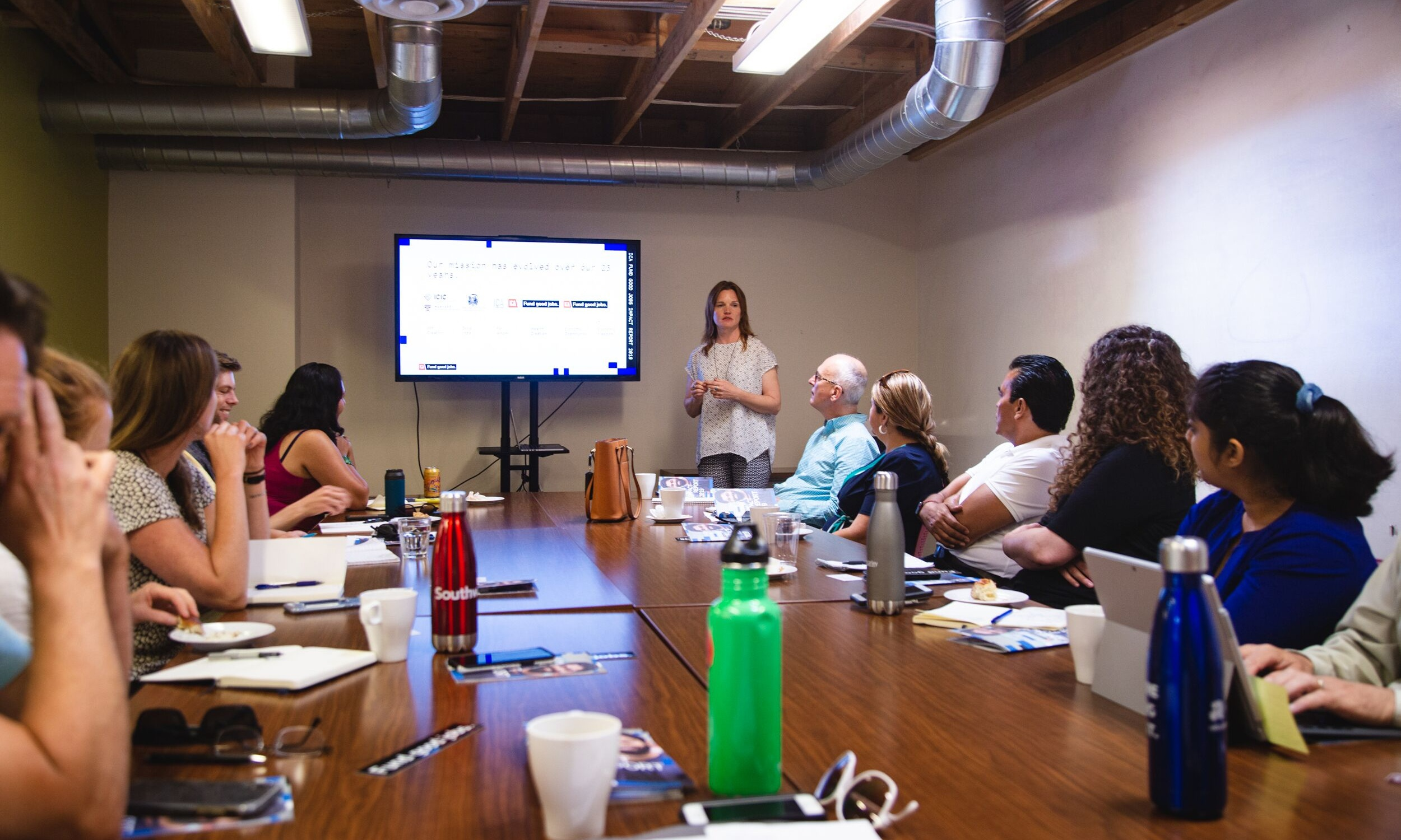 Director of Regional Strategy & Partnerships, Ingrid Jacobson, presents to ICA partners from San Jose at the Hub in Oakland.