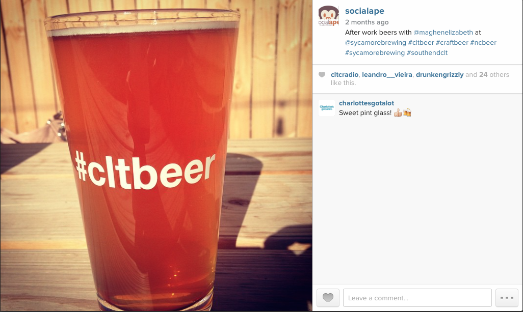 Using the hashtag #cltbeer, we connected with the craft beer community in Charlotte.