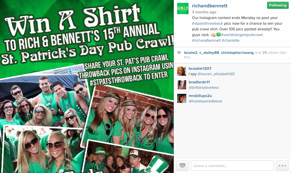 Rich & Bennett used #StPatsThrowback to encourage followers to post pictures of them from previous R&B St. Pat's bar crawls.