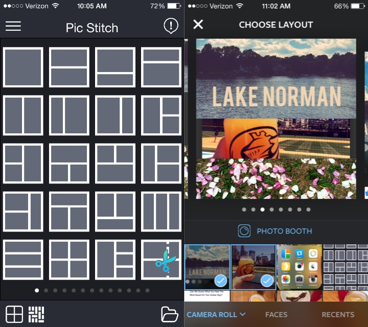 PicStitch is on the left and Layout for Instagram is on the right.