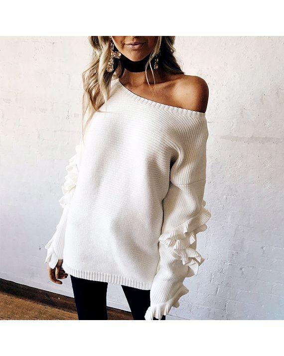 The Wildflower Shop  Elisha Ruffle Sleeves Knit Top, $38
