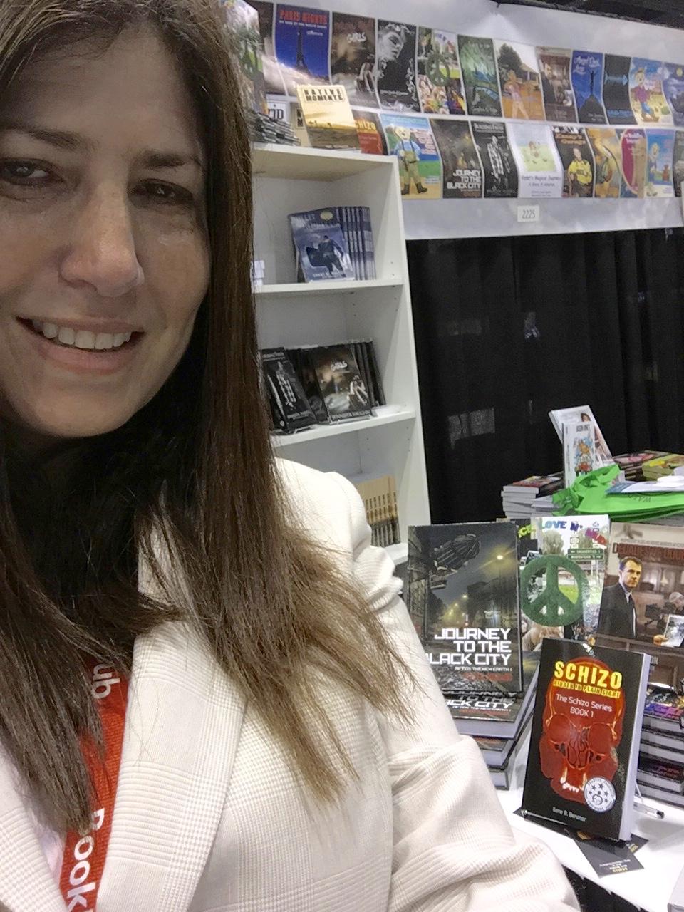 Selfie with book photobomb