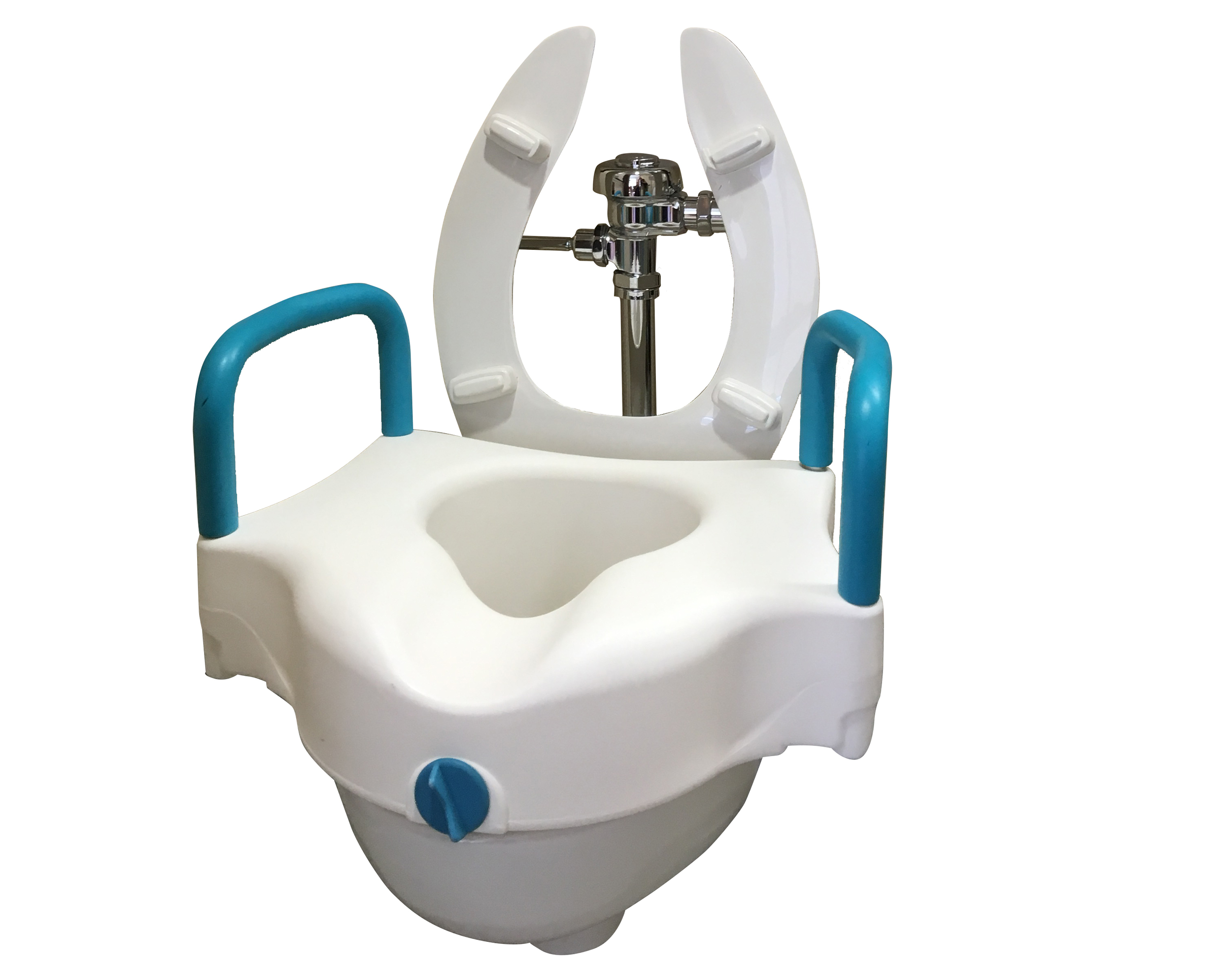Raised toilet seat with arm rest