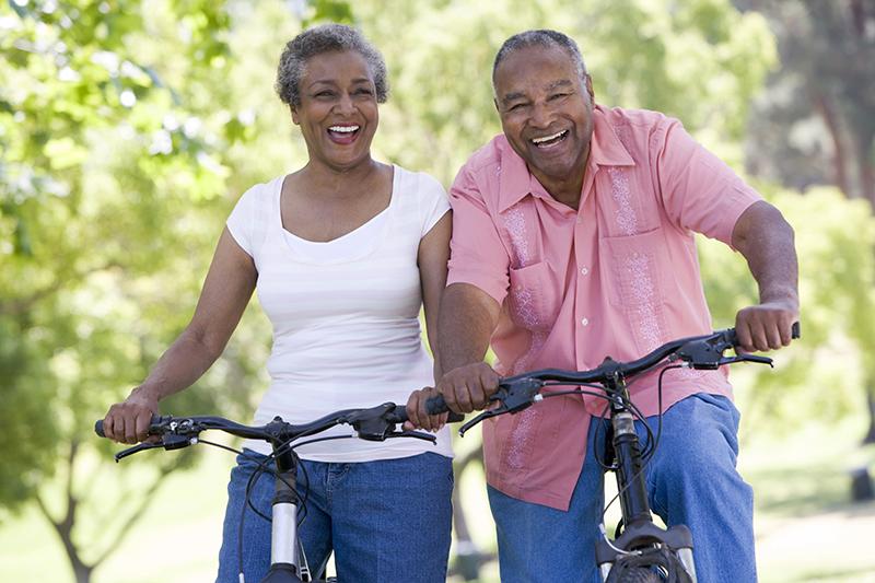 couple biking outdoor