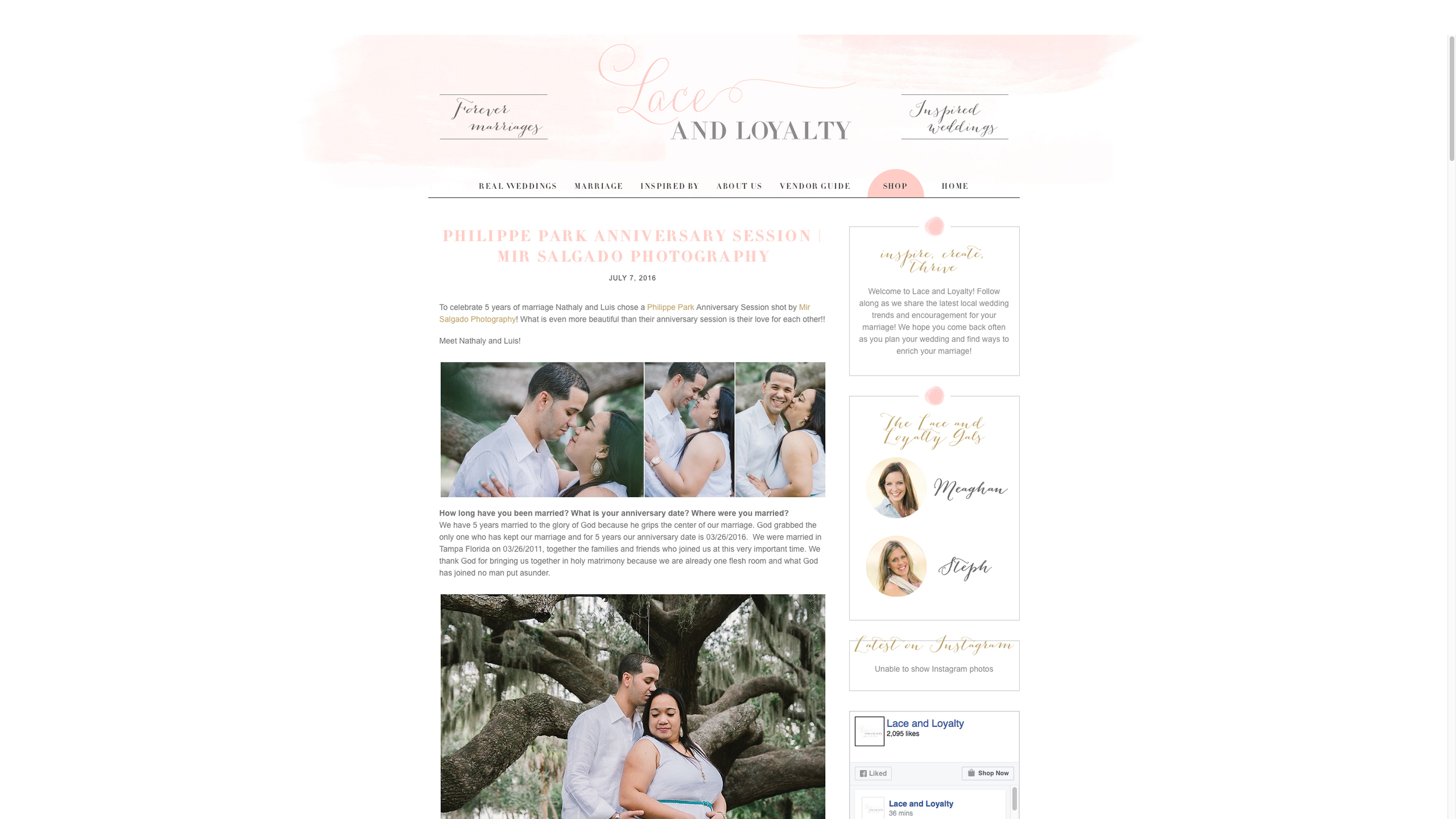 tampa wedding & portrait photographer feature in Lace and Loyalty Bol