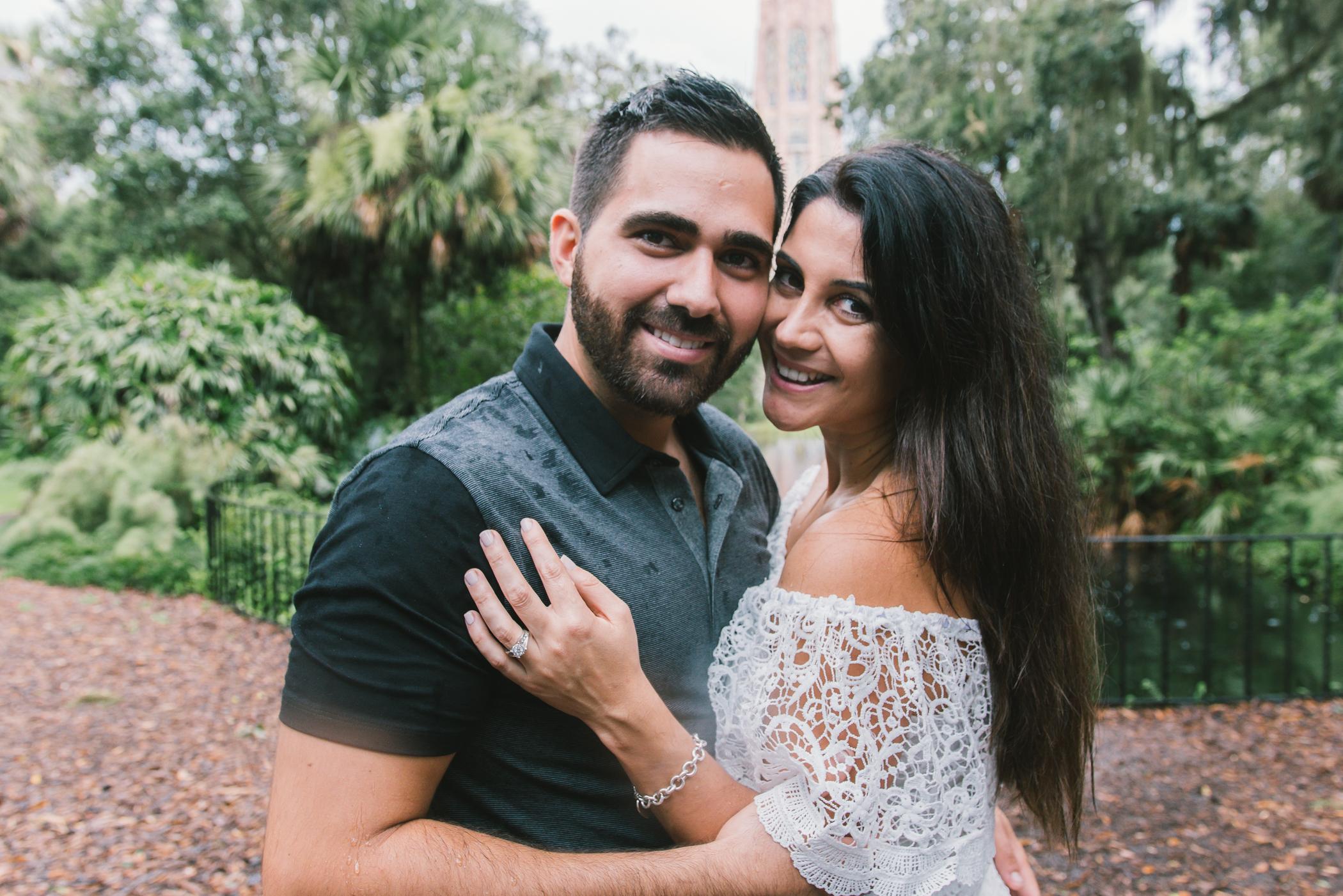 Bok-tower-rainy-engagement-session, Tampa-wedding-photographer