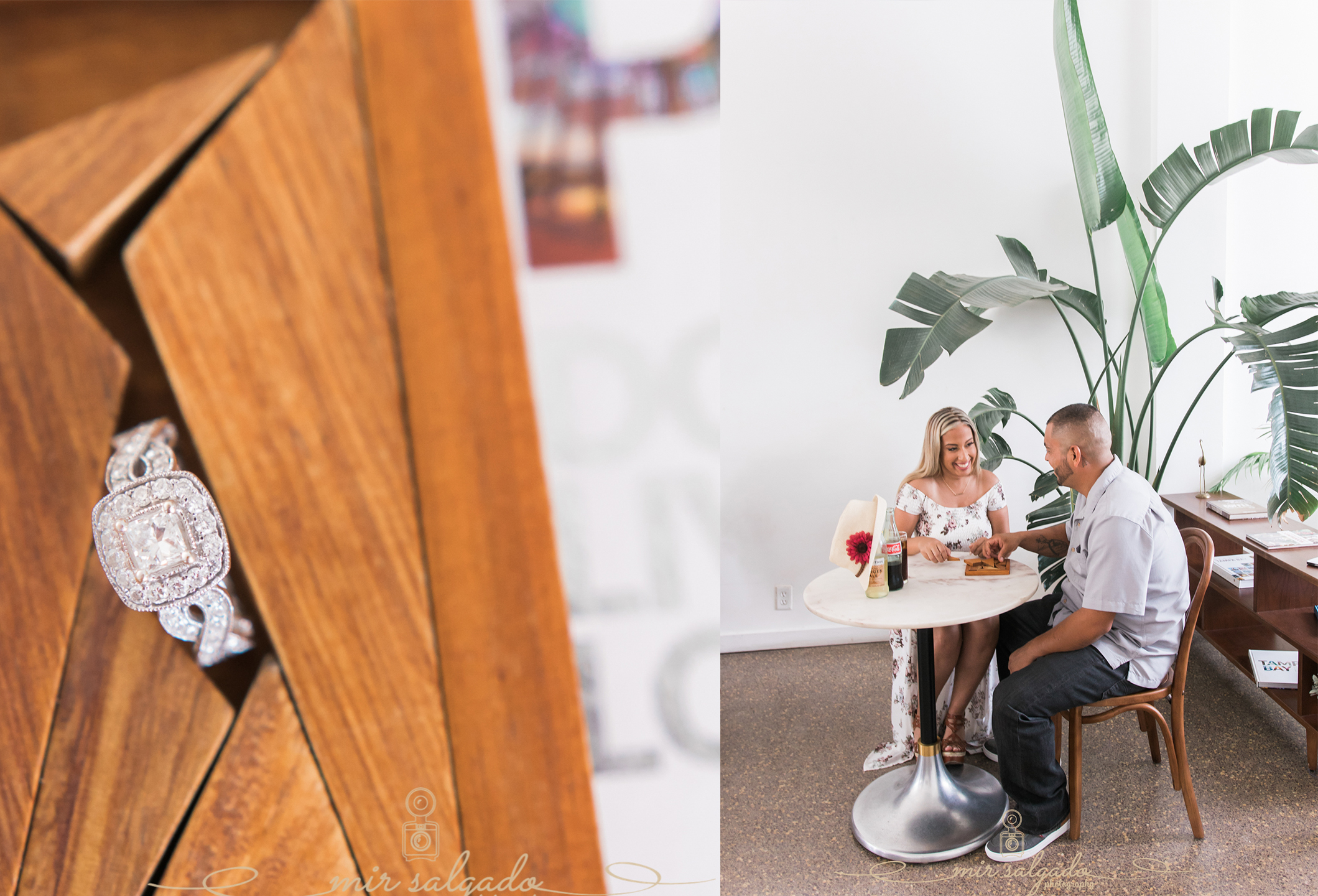 miriam-photography-tampa-st-pete-engagement-session-sunny-floral-dress-diamond-ring-table-plants