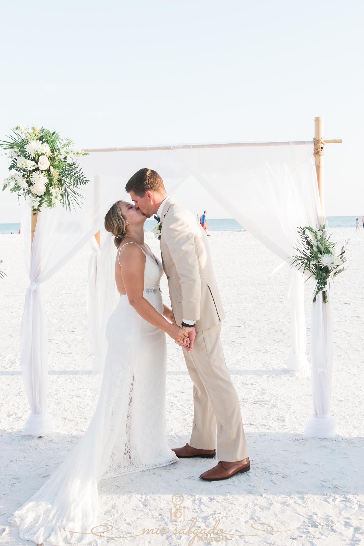 Wedding-photography, first-kiss, beach-wedding