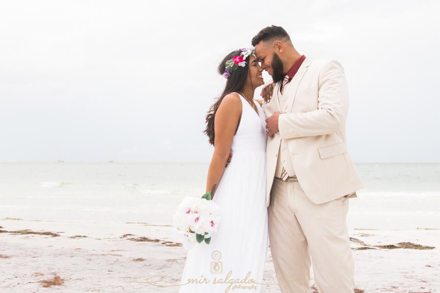 Fort-De-Soto-beach-pictures-flowers-flower-crown-wedding-dress-tan-suit