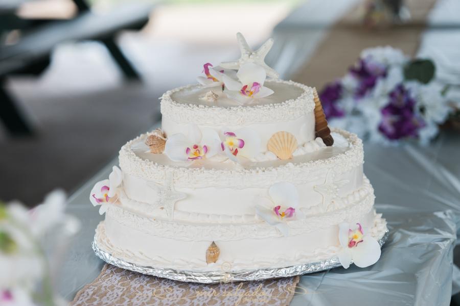 Fort-De-Soto-beach-pictures-flowers-wedding-cake-starfish-seashells-icing