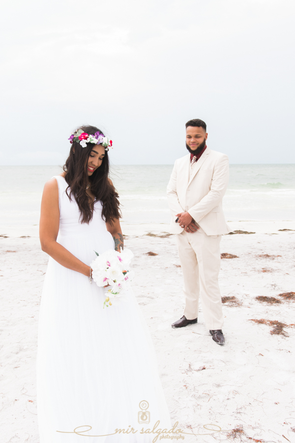 Fort-De-Soto-beach-pictures-flowers-flower-crown-wedding-dress-tan-suit-ocean-florida-tampa-photographer