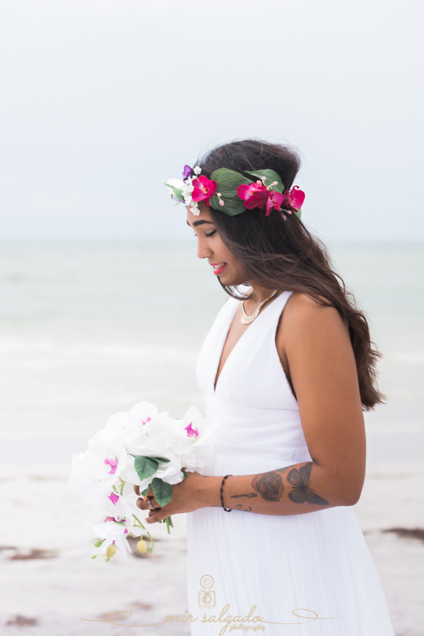Fort-De-Soto-beach-pictures-flowers-flower-crown-wedding-dress-solo-profile-tampa-photography