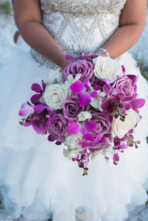 purple-flower-bouquet, wedding-dress