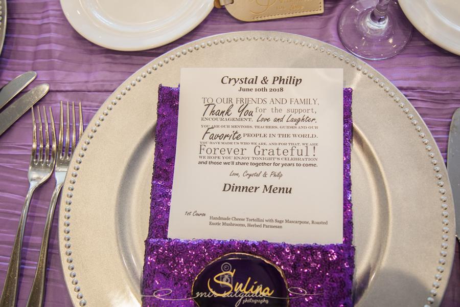 sparkly-purple-dinner-menu, silver-silverware-plates