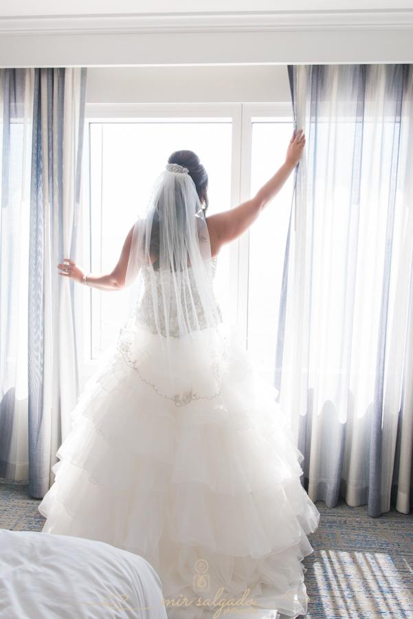 wedding-dress, wide-window-hotel-room, bride-getting-ready