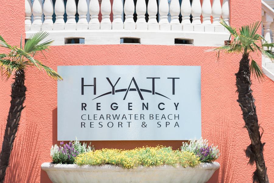 Hyatt-clearwater-beach-resort-spa, Tampa-wedding-photographer, flower-palm-tree-entrance