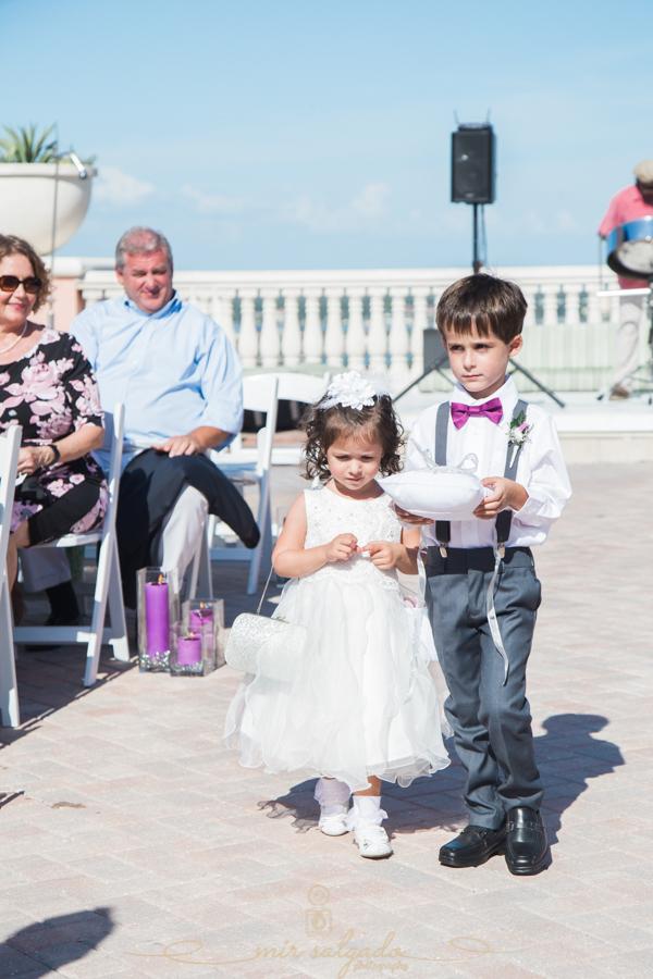 beach-side-Hyatt-hotel-wedding, ceremony-setup, wedding-ceremony, ring-bearer, flower-girl