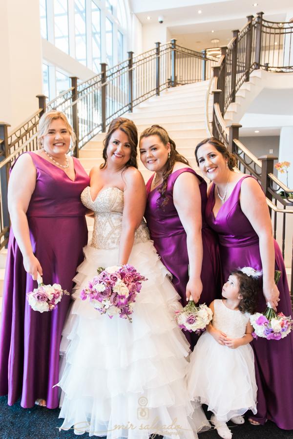 flower-bouquets, beach-side-Hyatt-hotel-wedding, bridal-party-session