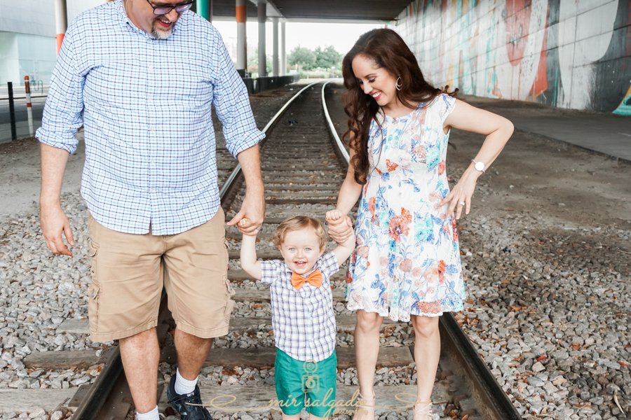 Train-tracks, lovely-family-session, happy-two-year-old, Downtown-Tampa, happy-mom-dad-baby